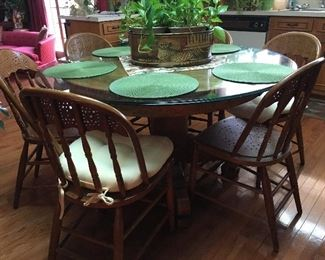 Antique table, oak, 6 chairs