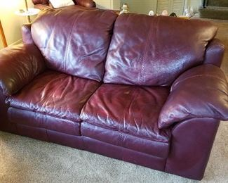 The Sealy leather loveseat