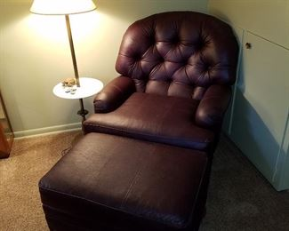 Leather tufted back chair & ottoman.  Lamp/table
