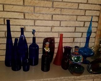 Decorative glass bottles and other items