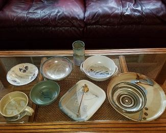 Studio pottery displayed on coffee table