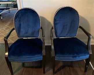 2  Blue velvet chairs