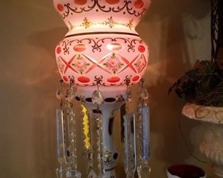 One of a pair of beautiful crystal lamps