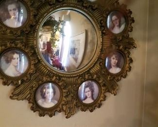 Vintage mirror with cameo pictures