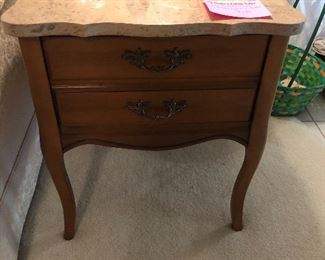 French Provincial end table with marble top