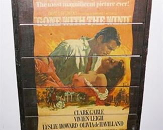 "Antique Movie Poster on Wood Slats - ""Gone With The Wind"""