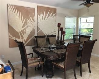 Tommy Bahama style dining room table with 6 chairs, 2 leafs and matching china cabinet