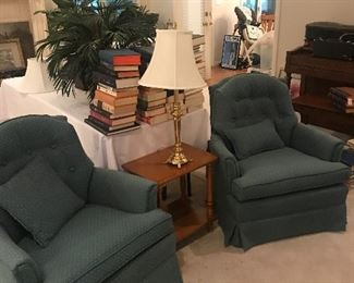 Pair of matching upholstered chairs end tables, lamps and a large assortment of books