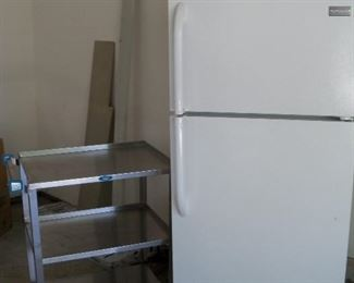 Small Frigidaire and stainless steel utility cart