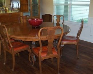 """large round table and 6 chairs  table is 70"""" wide"""