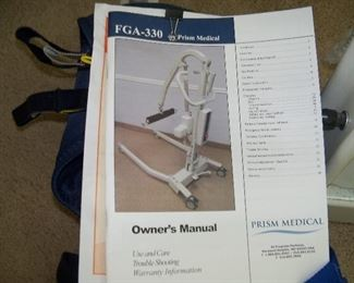 Manuel for lift machine.  Purchased 4 years ago for over 3,000.00.  Ours comes with two slings for 1,000.00  OBO
