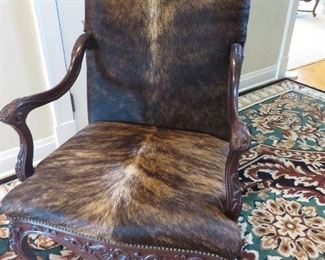 TRADITIONAL OPEN ARM COWHIDE CHAIR HAIR ON HIDE  MAYFIELD LEATHER FURNITURE  HICKORY NC