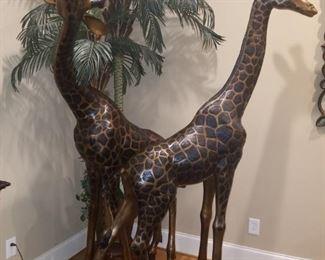7.5ft bronze giraffes