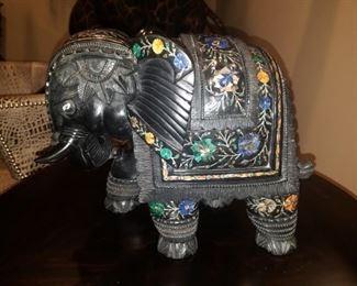 Carved elephant marble inlaid Pietra Dura figurine