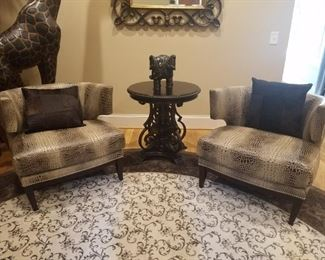Beautiful pair of leather faux alligator skin chairs maker is Precedent Furniture