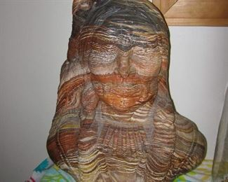 Vintage INDIAN BUST Mission Swirl LAYERED CLAY & RESIN (Heavy)