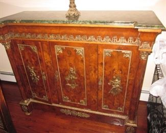 Ornate Marble Top Credenza