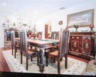 Stunning Antique Dining Table & Seating