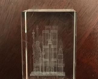 Crystal etching Twin Towers NYC