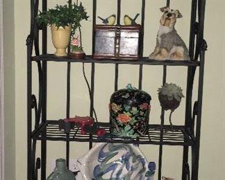 Iron bookshelf; multiple decor pieces