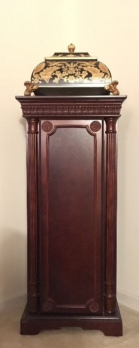 Jewelry armoire; gilded trinket box