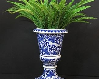 Blue & white pedestal planter