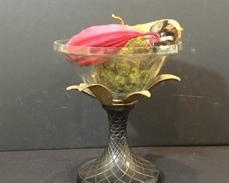 Brass pedestal and crystal dish with artificial fruit