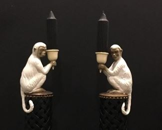 White monkey pedestal candlesticks