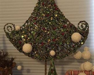 Christmas decor:  modern tree; glass trees (2 sizes); ornaments