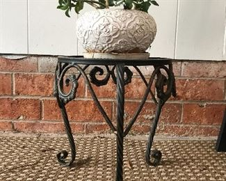Iron plant stand and planter