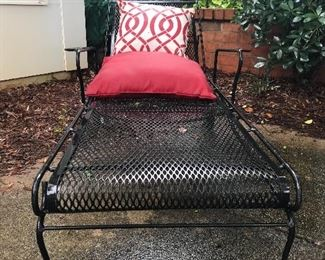 Vintage wrought iron chaise lounge chair
