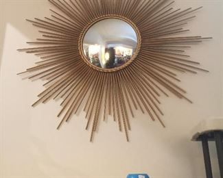 Mid-Century modern gilt metal sunburst mirror