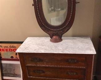 Victorian Mitchell & Rammelsburg antique marble top vanity dresser. Beautiful piece.