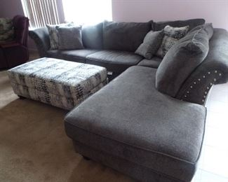Available for presale-L-shape sofa with chaise and matching upholstered ottoman $800.00