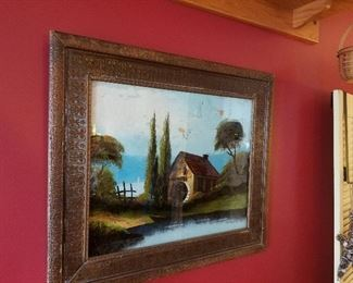 Antique painted on glass art
