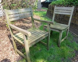 teak patio table with 4 chairs