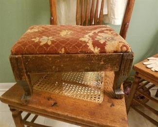 antique foot stool and pressed back chair