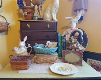 spring baskets and bunnies