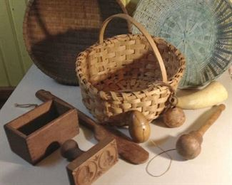 Double Acorn Butter Mold, Wooden (Treenware) Egg String Holder. Darter, Butter Paddle & Oak Spit Basket