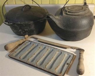 Iron Dutch Oven & Kettle. Old Draw Knife & Grey Enamel Corn Stick Pan