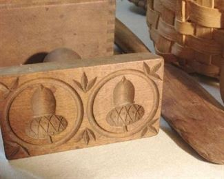 Double Acorn Butter Mold.& Butter Paddle