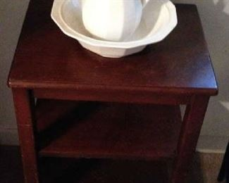 Wash Bowl & Pitcher. Wooden Stand