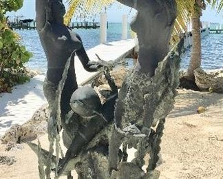 Bronze Mermaids Dancing with Dolphins Fountain Statue offered by Susie's Key West Estate Sales