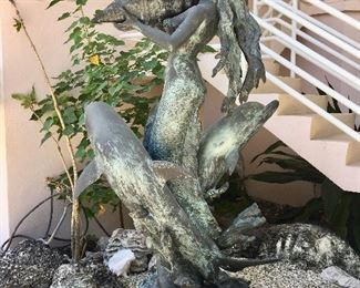Bronze Mermaid and Dolphin Fountain Statue offered by Susie's Key West Estate Sales