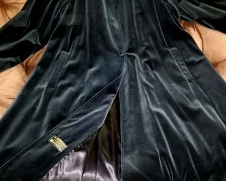 Vintage 1 Button Full Length Velvet Swing Coat