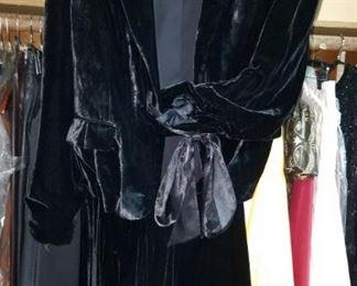 stunning Vintage Calvin Klein crushed Blue Velvet Jacket and Swing skirt