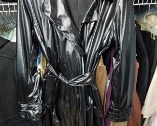 Calvin Klein Black Metallic Belted Duster