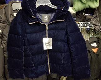 Zara Blue Velvet quilted Bomber Jacket
