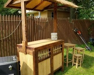 Vintage Wood & Bamboo Tiki Bar