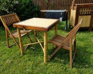 Folding Bamboo table w folding wood slat chairs